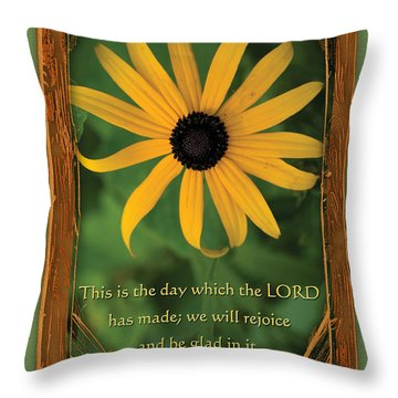 This Is The Day Sunflowers Throw Pillow