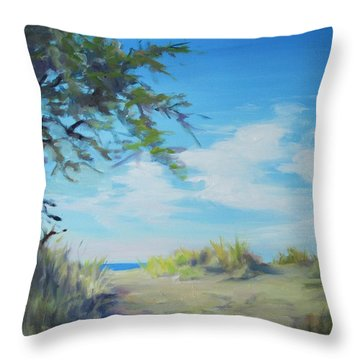 This Way To The Beach Throw Pillow