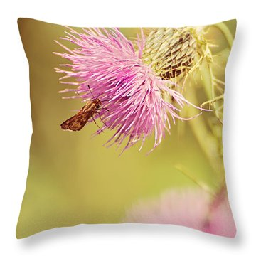 Thistle And Friend Throw Pillow by Lois Bryan