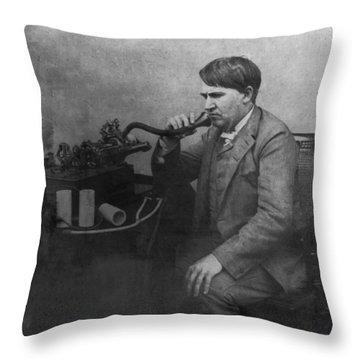 Thomas Alva Edison 1892 Throw Pillow by Bill Cannon
