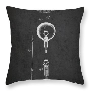 Thomas Edison Electric Lamp Patent From 1880 - Dark Throw Pillow