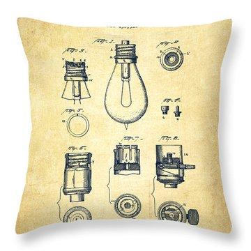 Thomas Edison Lamp Base Patent From 1890 - Vintage Throw Pillow