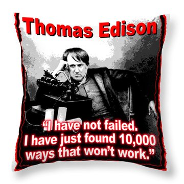 Thomas Edison On Failure Throw Pillow