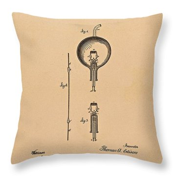 Thomas Edison Patent Application For The Light Bulb Throw Pillow by Movie Poster Prints