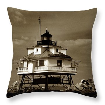 Thomas Point Shoal Lighthouse Sepia Throw Pillow