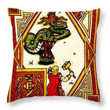Thor And The Serpent Throw Pillow