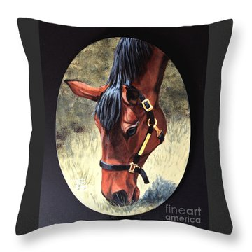 Thoroughbred Head Throw Pillow
