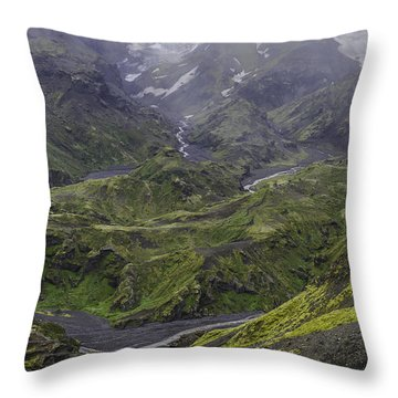 Thorsmork Toward Myrdalsjokull Throw Pillow