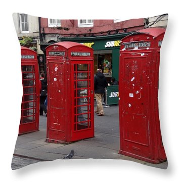 Those Red Telephone Booths Throw Pillow