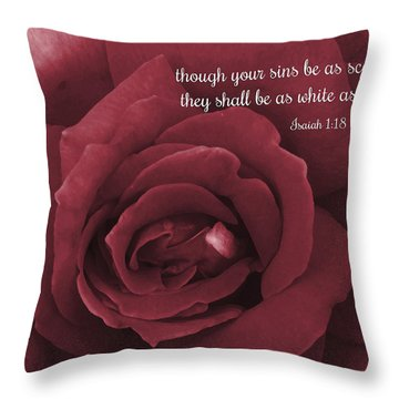 Though Your Sins Be As Scarlet Red Rose Throw Pillow