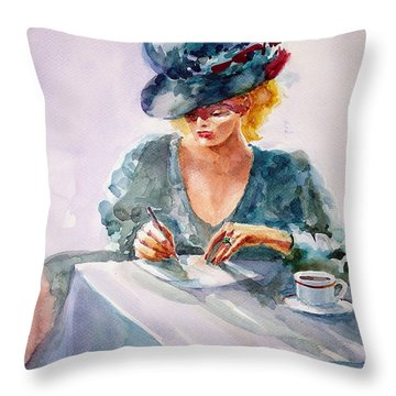 Throw Pillow featuring the painting Thoughtful... by Faruk Koksal