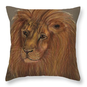 Throw Pillow featuring the drawing Thoughtful Lion 2 by Stephanie Grant