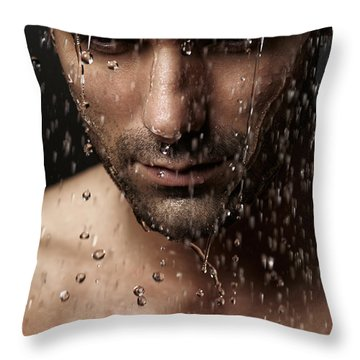 Thoughtful Man Face Under Pouring Water Throw Pillow by Oleksiy Maksymenko