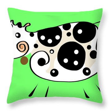 Thoughts And Colors Series Cow Throw Pillow