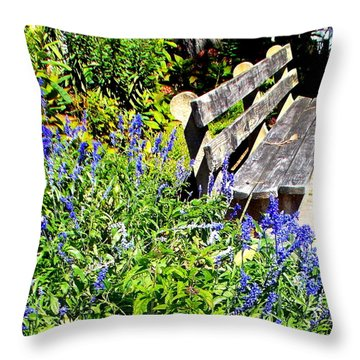 Thoughts On The Weathered Bench Throw Pillow by Pamela Hyde Wilson