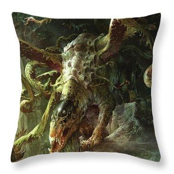 Thrashing Mossdog Throw Pillow by Ryan Barger