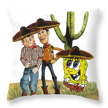 Throw Pillow featuring the painting Three Amigos by Ferrel Cordle