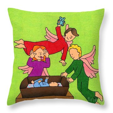 Three Angels And A Baby Throw Pillow