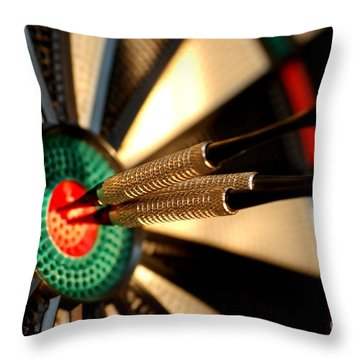 Three Arrows In The Centre Of A Dart Board Throw Pillow by Michal Bednarek