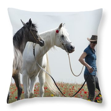 Three At The Poppies' Field... 1 Throw Pillow