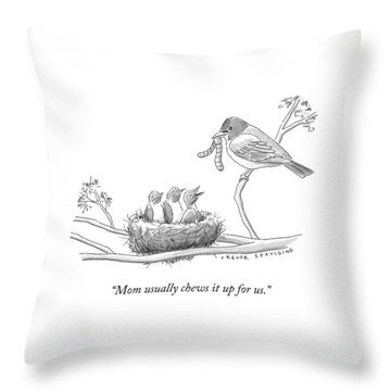 Three Baby Birds In A Nest Talk To A Grown Bird Throw Pillow