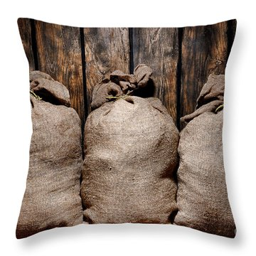 Three Bags In A Warehouse Throw Pillow by Olivier Le Queinec