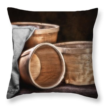 Three Basket Stil Life Throw Pillow by Tom Mc Nemar