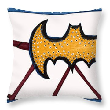 Throw Pillow featuring the sculpture Three Bat Signals by Robert Margetts