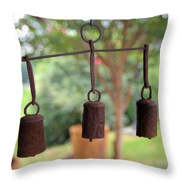 Three Bells - Square Throw Pillow by Gordon Elwell