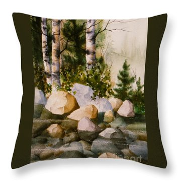 Three Birch By Rocky Stream Throw Pillow