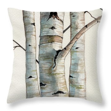 Three Birch Trees Throw Pillow