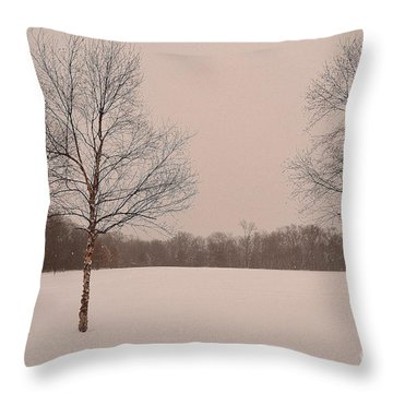 Three Birch Trees In Winter Throw Pillow