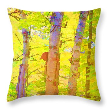 Three Birches In Wow Color Throw Pillow