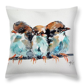 Three Birds Throw Pillow