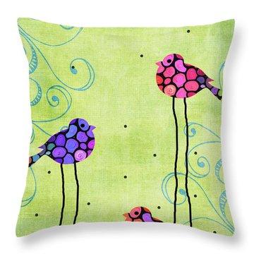 Three Birds - Spring Art By Sharon Cummings Throw Pillow by Sharon Cummings