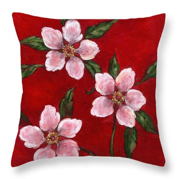 Three Blossoms On Red Throw Pillow