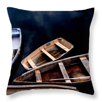 Throw Pillow featuring the photograph Three Boats In Rockport Mass by Jacqueline M Lewis