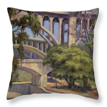 Three Bridges Throw Pillow by Jane Thorpe