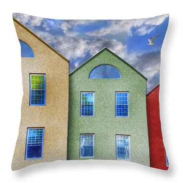 Three Buildings And A Bird Throw Pillow