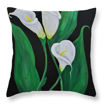 Throw Pillow featuring the painting Three Calla Lilies On Black by Janice Rae Pariza