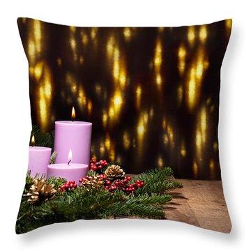 Three Candles In An Advent Flower Arrangement Throw Pillow