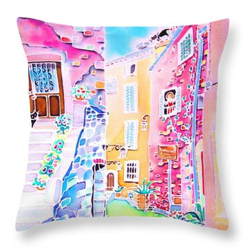 Three Cats In The Alley Throw Pillow