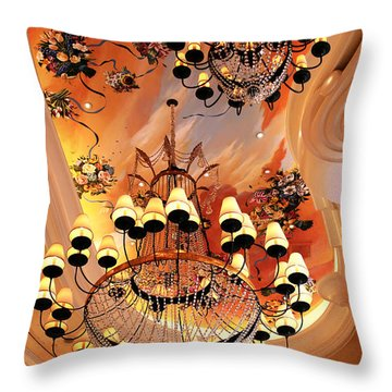 Three Chandeliers Throw Pillow by John Rizzuto