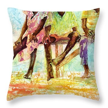 Three Children Of Ghana Throw Pillow