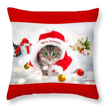 Throw Pillow featuring the photograph Three Christmas Kittens by Chris Armytage