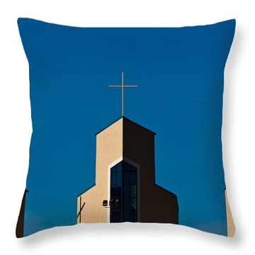 Throw Pillow featuring the photograph Three Crosses Of Livingway Church  by Ed Gleichman