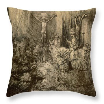 Three Crucifixes Throw Pillow by Rembrandt Harmenszoon van Rijn