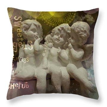 Three Cute Angels Throw Pillow