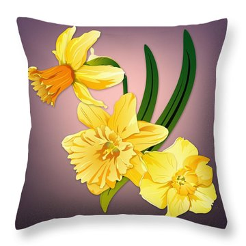 Throw Pillow featuring the digital art Three Daffodils by MM Anderson