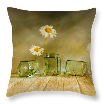 Three Daisies Throw Pillow by Veikko Suikkanen